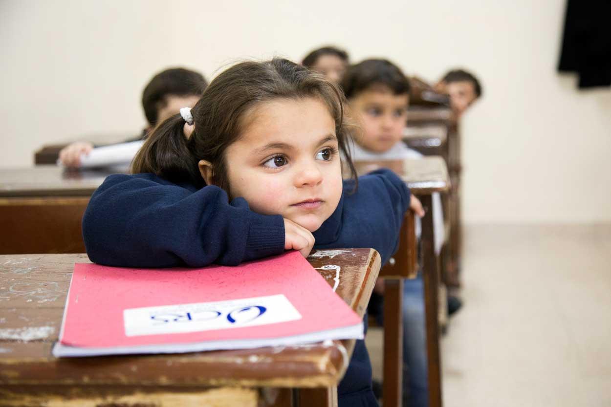 Rakya, 5, is a Syrian student in Amman. Jordan