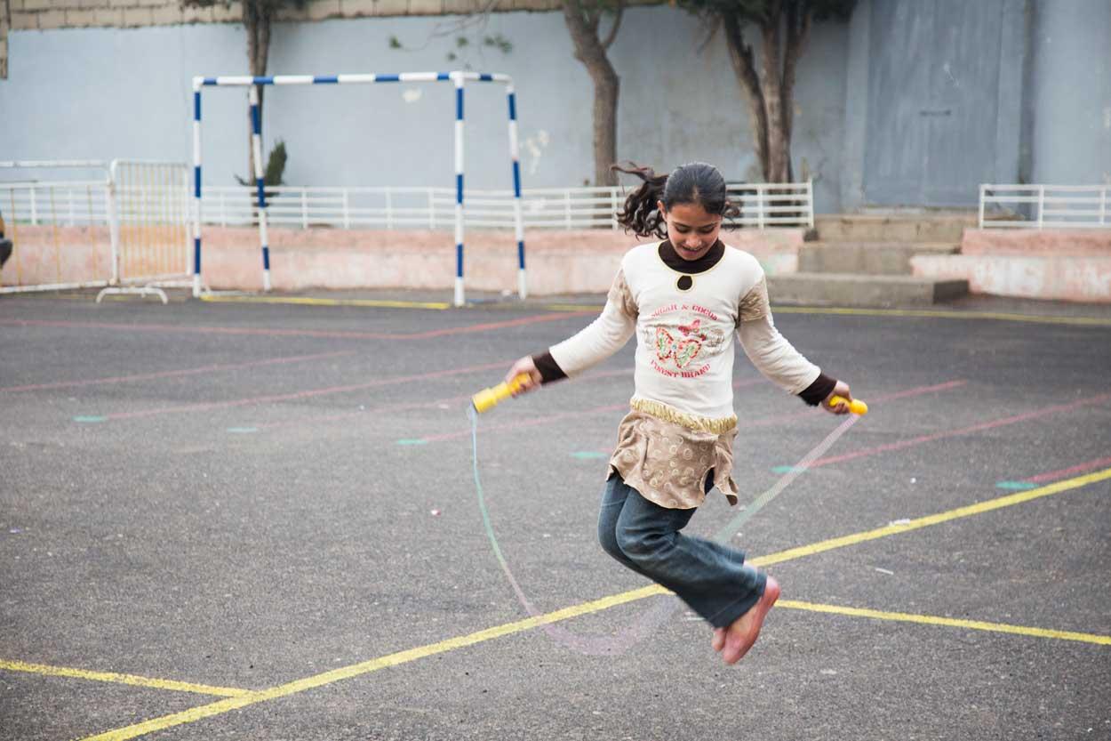 El recreo en la Escuela Latina de Ashrafieh en Amán, Jordania